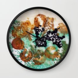 Lost Chromosome - Mixed Media Beeswax Encaustic Abstract Modern Art, 2015 Wall Clock