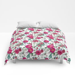 Protea, Pink Floral and berries Comforters