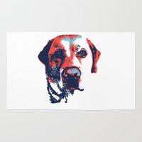 labrador Area & Throw Rugs featuring Patriotic Labrador  by Rachel Barrett