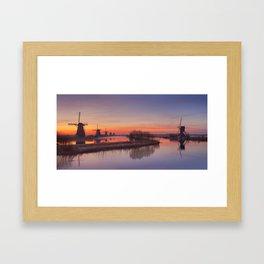 I - Traditional windmills at sunrise, Kinderdijk, The Netherlands Framed Art Print