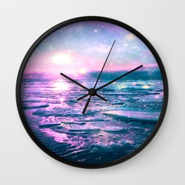 Mystic Waters Vibrant Pink Blue Lavender Wall Clock