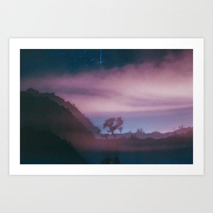 dreamy Joshua Tree at night Art Print