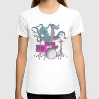 drums T-shirts featuring Octopus Playing Drums - Blue by Ornaart