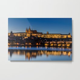 Charles Bridge and Prague Castle, Czech Republic Metal Print