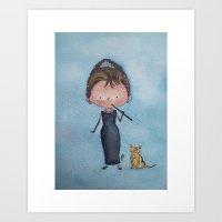 audrey Art Prints featuring Audrey by Juliana Motzko