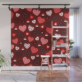 Valentine Hearts and Votive Candles Wall Mural