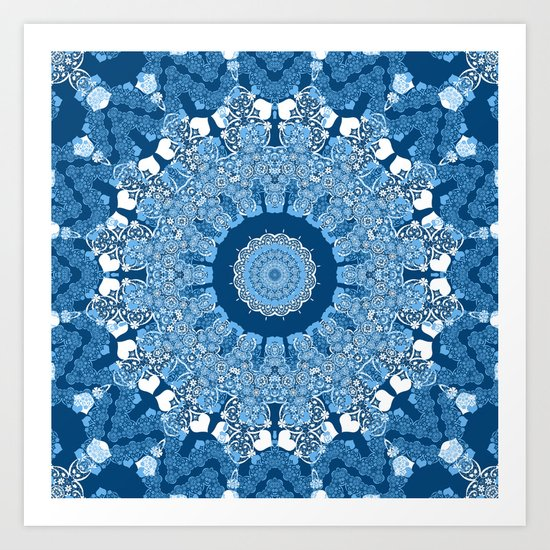White blue kaleidoscope . Art Print
