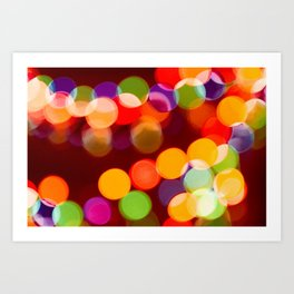 Retro Rainbow Bokeh Christmas Ligths Art Print