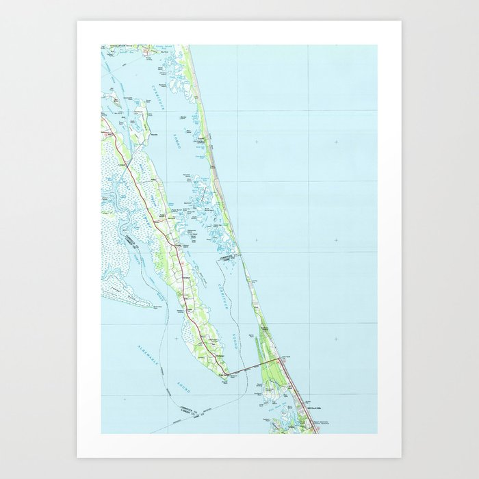 Northern Outer Banks North Carolina Map (1985) Art Print by ... on
