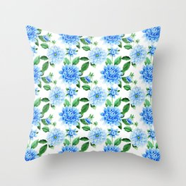 Hand painted sky blue green watercolor modern dahlia floral Throw Pillow