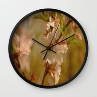 cherry blossoms Wall Clocks featuring Cherry Blossoms by Dorothy Pinder