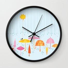 Pretty Parasols for Precipitation LineUp Wall Clock