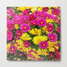 FUCHSIA GARDEN FLOWERS YELLOW COREOPSIS Metal Print