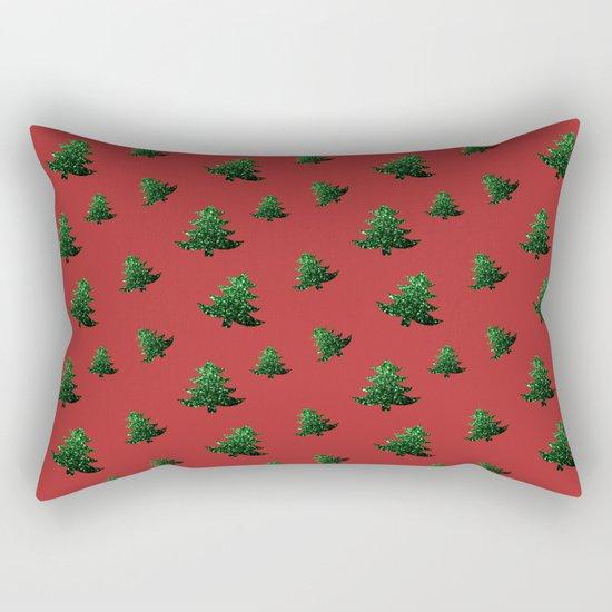 Christmas tree green sparkles pattern on Red Rectangular Pillow