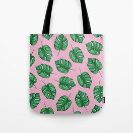 Pink Monstera Leaf Watercolor Pattern | Tropical Leaves Watercolor | Tropical Pattern Tote Bag