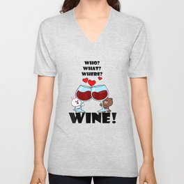 Cute brown bear cony bunny rabbit who what where wine lover T-Shirt Unisex V-Neck