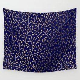Gold Berry Branches on Navy Wall Tapestry