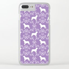 English Springer Spaniel dog breed floral pet portraits dog silhouette dog pattern Clear iPhone Case