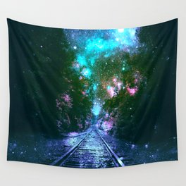 train tracks Next Stop Anywhere bright Wall Tapestry