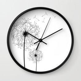 Black And White Dandelion Sketch Wall Clock