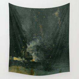 Nocturne In Black And Gold The Falling Rocket By James Mcneill Whistler   Reproduction Wall Tapestry