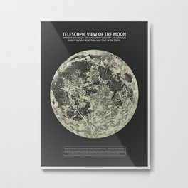 Telescopic View of the Moon | Vintage Astronomy Illustration Metal Print