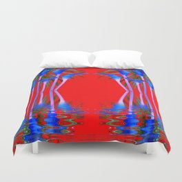 BLUE CALLA LILIES RED WATER REFLECTIONS Duvet Cover