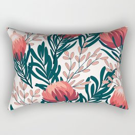 Original seamless tropical pattern with bright plants and flowers on a white background. Summer colorful hawaiian seamless pattern with tropical plants. Beautiful seamless vector floral pattern. Rectangular Pillow