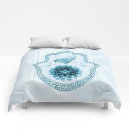 Butterfly Lotus Blue Hamsa Hand Comforters