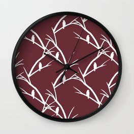 Bird Silhouette Red Pattern Wall Clock