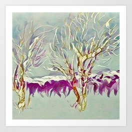 Winter Trees Purple Teal Gold Buffalo by CheyAnne Sexton Art Print
