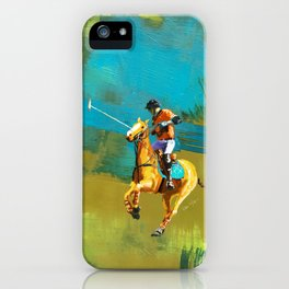 poloplayer abstract turquoise ochre iPhone Case
