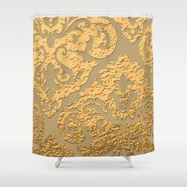 Gold Metallic Damask Print Shower Curtain
