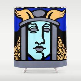 Jugendstil Einfuhrmesse Frankfurt blue Shower Curtain