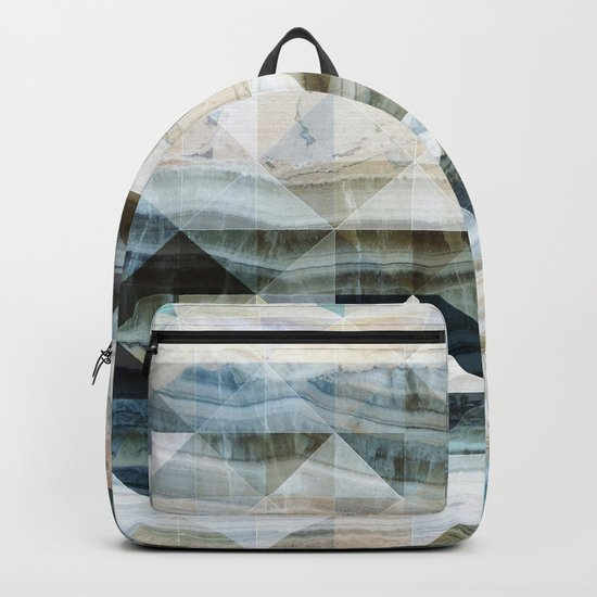 Geo Marble - Natural and Blue #buyart #marble Backpack