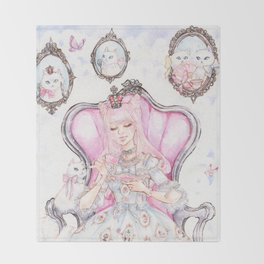 Cat's Tea Party Watercolor Painting Throw Blanket