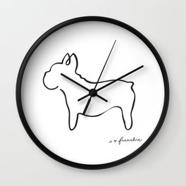 Abstract Frenchie, French Bulldog Dog Line Drawing Wall Clock