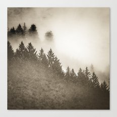 Fog Forest - Vintage Sepia Foggy Woods Canvas Print