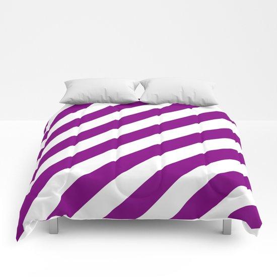 Diagonal Stripes (Purple/White) Comforters