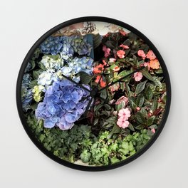 Hydrangeas and Impatiens Wall Clock