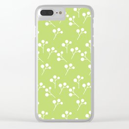 Modern abstract lime green white geometric floral Clear iPhone Case