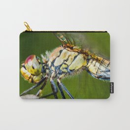 Beautiful colorful dragonfly extreme macro insect resting on dried bamboo stick in summer Carry-All Pouch