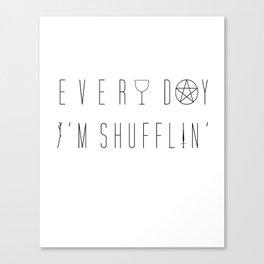 Every Day I'm Shufflin' | Tarot Tee (large black lettering) Canvas Print