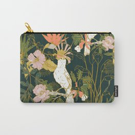 Drawing of exotic birds in the dark jungle Carry-All Pouch