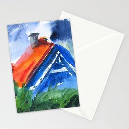 House in Nida, watercolor Stationery Cards