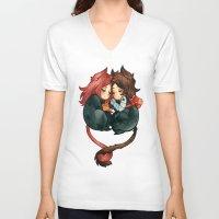 bucky V-neck T-shirts featuring bucky & natasha by cynamon