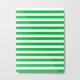 Narrow Horizontal Stripes - White and Dark Pastel Green Metal Print