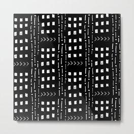 mudcloth 15 minimal textured black and white pattern home decor minimalist beach Metal Print