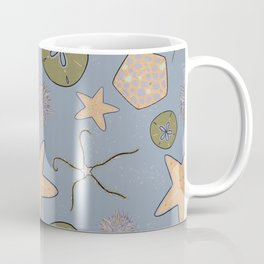 Sea stars and urchin - echinoderm beach print stormy blue Coffee Mug