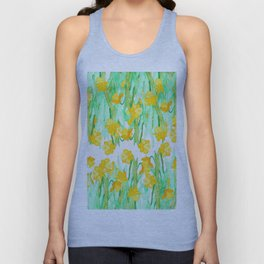 Colorful hand painted watercolor daffodil flowers  Unisex Tank Top